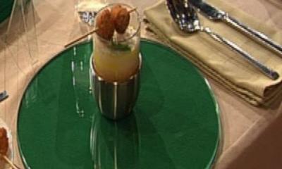 Karotten-Ingwer-Suppe mit Garnelenspieß à la Zacherl - Rezept