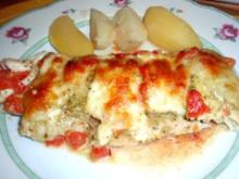 Fisch: Pangasiusfilet mit Pesto und Mozzarella überbacken - Rezept