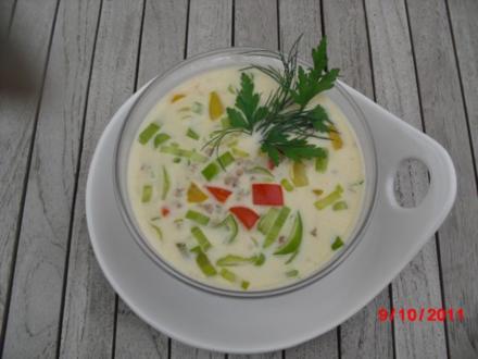 Hackfleisch-Käse-Suppe mit Gemüse - Rezept