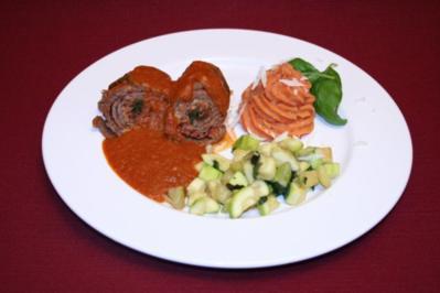 "Involtini ""Claudia"" mit Kartoffelpüree und Zucchinigemüse - Rezept"