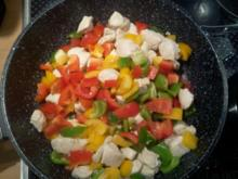 Paprika – Hähnchen – Rahmsoße mit Reis - Rezept
