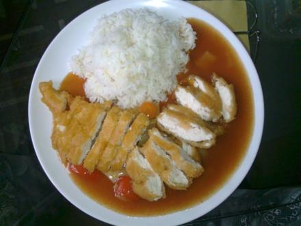 Gebackenes Hühnerfleisch Süss-Sauer - Rezept