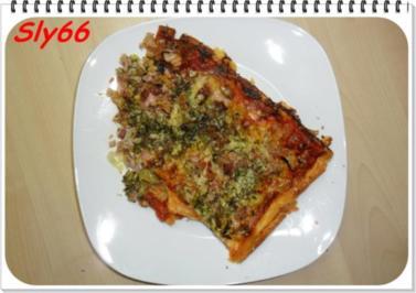 Pizza:Blätterteig-Pizza mit Tomaten-Speck-Champignonsoße - Rezept