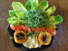 Rucolasalat mit gegrillten Pfirsich und Halloumi - Rezept