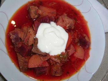 Borschtsch mit Eisbein  (ein reichhaltiger, leckerer  Eintopf mit viel Fleisch) - Rezept