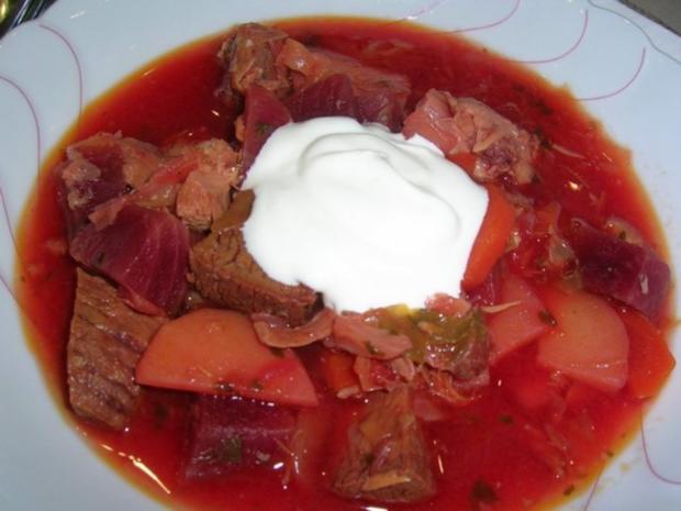 Borschtsch mit Eisbein  (ein reichhaltiger, leckerer  Eintopf mit viel Fleisch) - Rezept - Bild Nr. 3