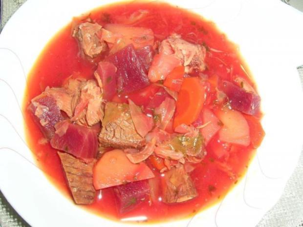 Borschtsch mit Eisbein  (ein reichhaltiger, leckerer  Eintopf mit viel Fleisch) - Rezept - Bild Nr. 5