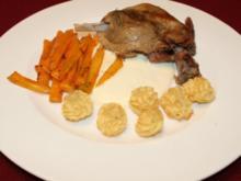 Confit de Canard mit weißer Soße, Julienne-Gemüse und Herzoginnenkartoffeln - Rezept