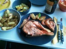Piatta de Mare / Fischplatte a la Nightcooker mit Monsterlachsteak - Rezept