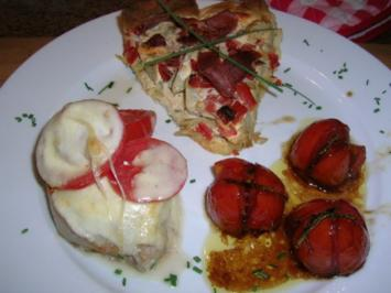 Rezept: Schweinesteak überbacken mit geschmorten Tomaten (meine schnelle Feierabendküche)