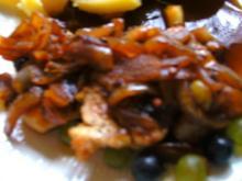 Zwiebel Weintrauben-Soße mit Hähnchenbrust - Rezept