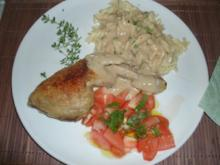 Hähnchenkeulen in Zitronenthymian-Weißweinsoße - Rezept