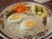Eier in Käse-Kräutersoße - Rezept