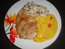 Putenschnitzel in Curry-Früchte-Rahm - Rezept