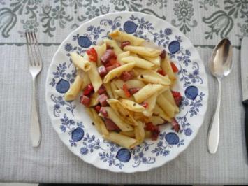 Resteverwertung : Gebratene Nudeln mit Wurstresten - Rezept