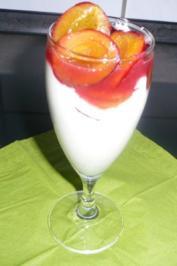 Beschwipste Pflaumen auf Mascarpone-Joghurt-Creme - Rezept