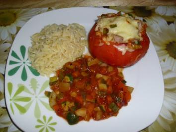 Gefüllte Tomaten an Reisnudeln - Rezept