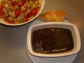 Schafskäse mit Pesto überbacken - Rezept