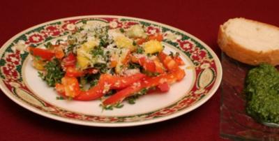 Paprika-Mango-Salat mit Kokosnuss und Kresse - Rezept
