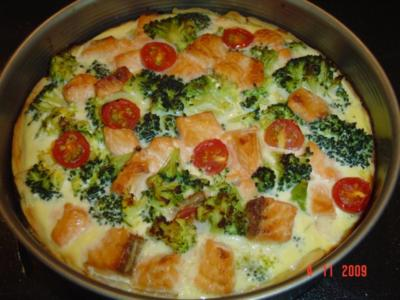Quiche mit Broccoli und Lachs - Rezept