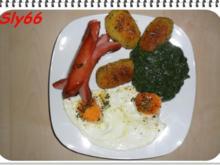 Schüblinge mit Bratkartoffeln,Spinat und Spiegeleier - Rezept