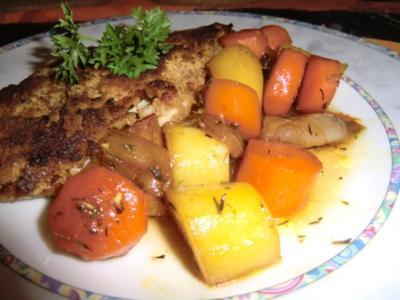Ofenschnitzel unter einer Senfkruste mit Balsamico-Gemüse - Rezept