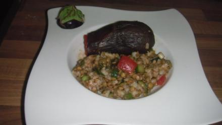 türkischer Reissalat mit grünen Linsen und gefüllte Aubergine - Rezept