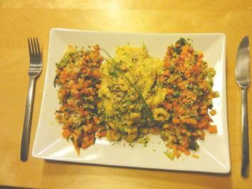 Polenta-Zwiebel-Rosmarin-Püree mit Gemüse - Rezept