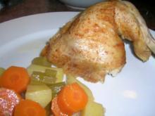 Hähnchen (knusprig)aus dem Bratschlauch mit viel leckerem Gemüse (lecker und kalorienarm) - Rezept