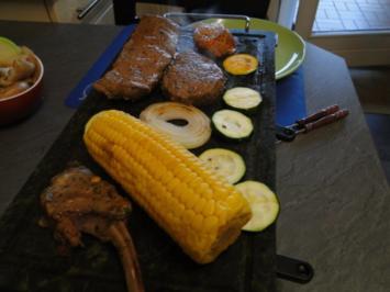 Edles Fleisch und Gemüse auf den heißen Stein /Für Bianca ohne Pilze!!!!) grins - Rezept