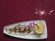 Mango-Lassi mit Minze auf Orangenfilets mit Chili-Schokolade - Rezept