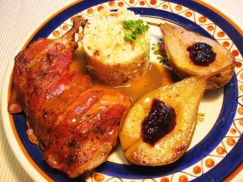 Hähnchenschenkel mit Birnen und Wein ... - Rezept
