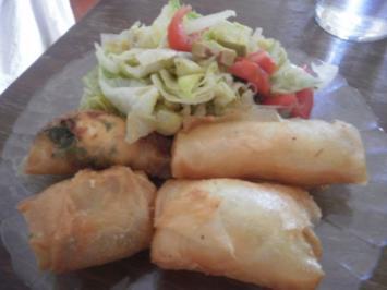 Brik-Röllchen mit zweierlei Käsefüllung und Salat - Rezept