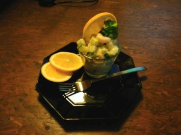 Birnen-Gurkensalat mit Shrimps - Rezept