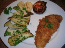 Schnitzel in Pankomehl paniert, mit Kräuterseiblingen (leckere Feierabendküche) - Rezept