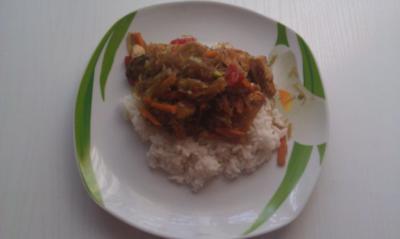 Glasnudeln mit Gemüse auf Reisbett - Rezept