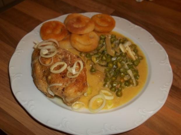 Scharfes Curryhuhn in Erbsen - Zwiebel - Sahnesauce - Rezept