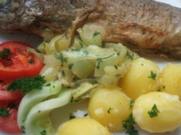 Forelle  in Butter  gebraten Salzkartoffeln und - Rezept