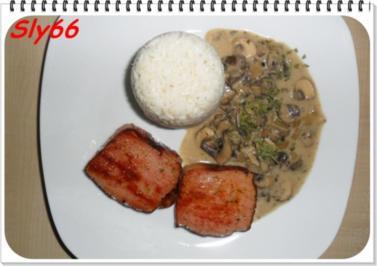 Leberkäse gebraten mit Champignonsoße und Reis - Rezept