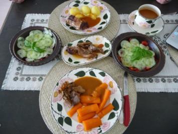Rezept: Resteverwertung : Putenbraten vom Vortag mit Kartoffeln und Salat