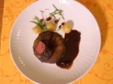 Känguru-Medaillon mit Balsamico-Cranberry-Sud u. Champignons - Rezept