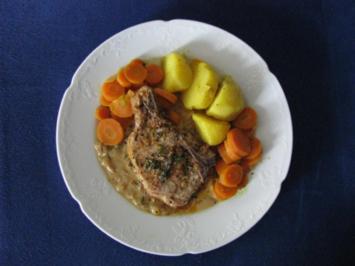 Fleisch: Kalbskotelett in Wermut-Thymian-Sahne - Rezept