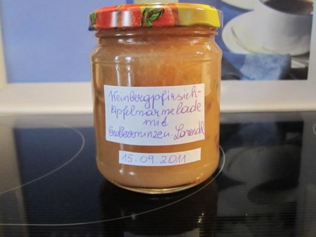 Weinbergpfirsich-Apfel-Marmelade mit Erdbeerminze und Lavendel - Rezept - Bild Nr. 12
