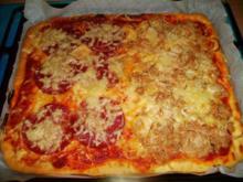 Pizza Pizza :-) Tonno Cipolla e Salami - Rezept