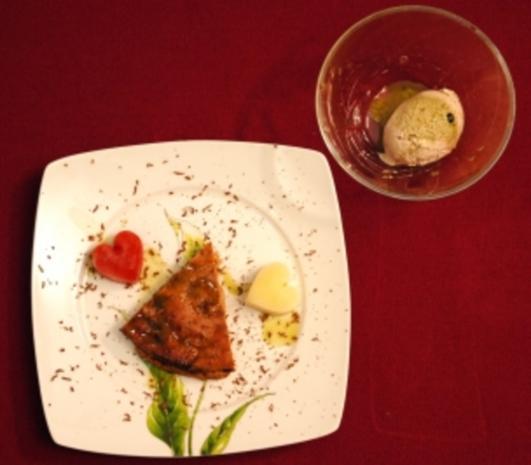 Tofukuchen mit grüner Teesoße dazu Sojaeis und Erdbeer-Sorbet (Antonia) - Rezept