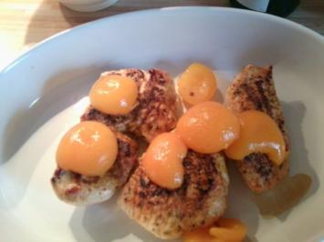 Überbackene Putenbrustfilets mit Aprikosen an Weißwein-Sahnesoße - Rezept