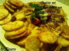 Omlett mit Scheibchen von Mettenden ,Zwiebeln und fritierten Kartoffelscheiben - Rezept