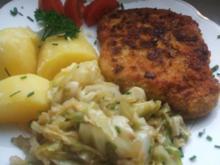 Schnitzel -- Spitzkohlgemüse und - Rezept
