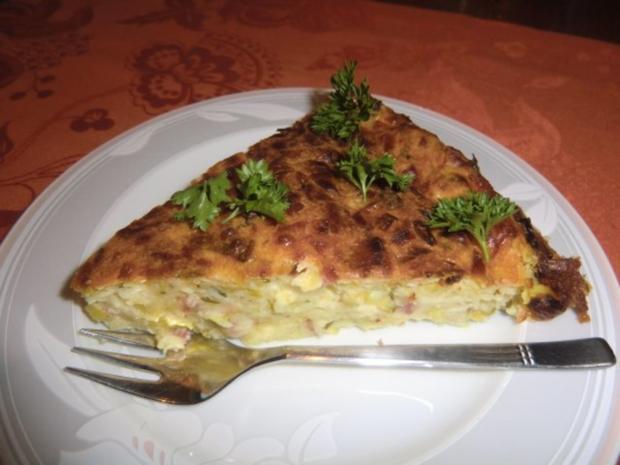 Lauch-Zwiebelkuchen ohne Boden - Rezept