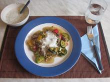 Paprika-Pfanne mit Joghurt-Dip - Rezept